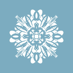 Snowy rosette or flower, oriental ornament on the white background, winter holiday design