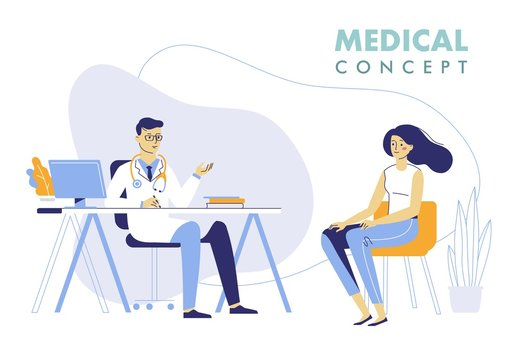Medicine concept with doctor and patient. Practitioner doctor man and young woman patient in hospital medical office. Consultation and diagnosis.