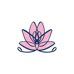Lotus, harmony and Universe symbol, sacred geometry. Ayurveda and balance logo or label