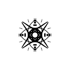 Vector snowflake, stylized ink drawing, simple brush paint, ornate star, holiday symbol, hand drawn