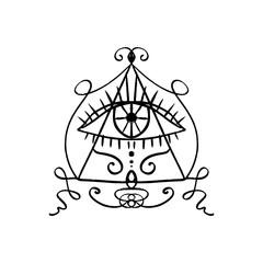 Hand drawn Eye of Providence stylized symbol. Triangle pyramid. Boho alchemy symbol tattoo or sticker. Isolated EPS
