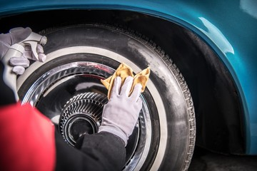 Classic Car Wheel Cleaning