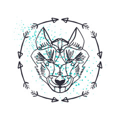 Patterned head of the wolf, animal face on background. African or indian totem, boho style, flash tattoo design