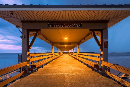 St. Simons Island Pier at twilight in St. Simons Island, Georgia