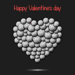 Happy Valentines Day. Heart from volleyball balls