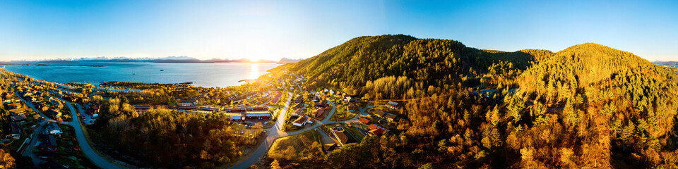 Aerial view of residential area in Molde, Norway in the evening