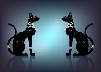 Black Egyptian cats. Bastet, ancient Egypt goddess, statue profile with old Pharaonic jewelry ornament, vector Illustration isolated or light blue background
