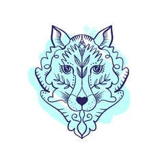 Totem wolf or fox, boho hippie illustration for sketches of tattoos. Northen style, sticker. Antistress art
