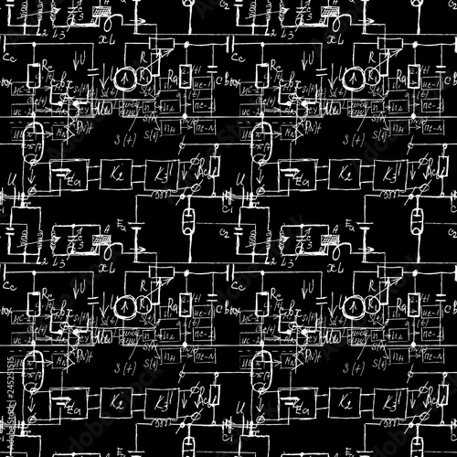 Incredible Scientific Seamless Texture With Handwritten Formulas And Electronic Wiring 101 Orsalhahutechinfo