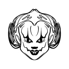 Evil clown art. Halloween mask illustration