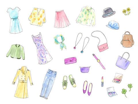 ファッション 小物 手描き水彩イラスト