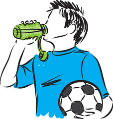 boy with soccer ball drinking water illustration