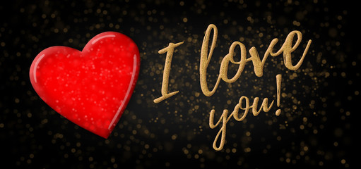 I love you on sparkling background/panorama