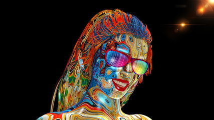 Colorful girl with glasses, woman's head with face covered in colors and long hair isolated on black background, 3D rendering