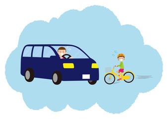 対自動車の交通事故になりそうになる子ども