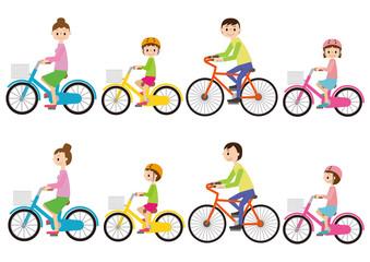 自転車に乗る家族素材イラストセット