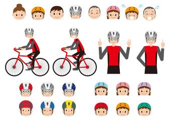 自転車交通安全教室素材イラストセット