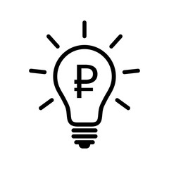 Light bulb with ruble symbol