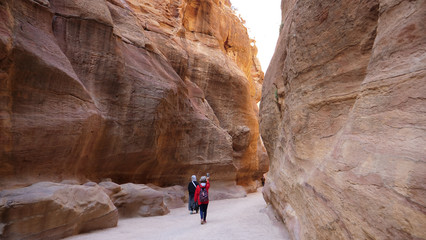 The Siq gorge is the entrance to the ancient Nabatean city of Petra in Jordan. The Siq ends in the Treasure ravine facade. Petra Jordan 1st February 2018