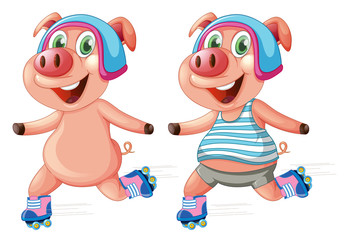 Pigs playing roller skate