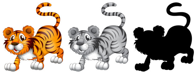 Set of tiger character