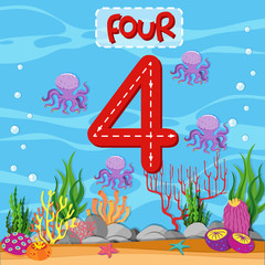 Number four underwater theme