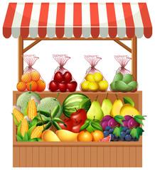 Fresh fruit on wooden stall