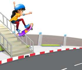 Girl playing skatebaord on street