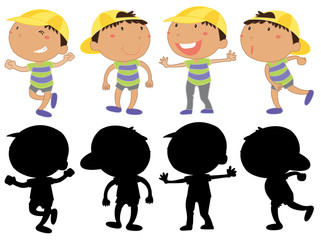 Set of young boy character