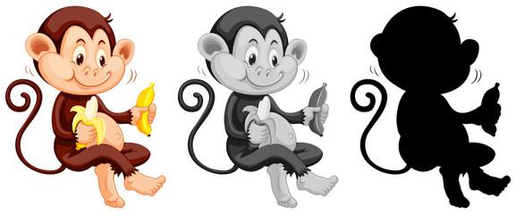 Set of monkey eating banana