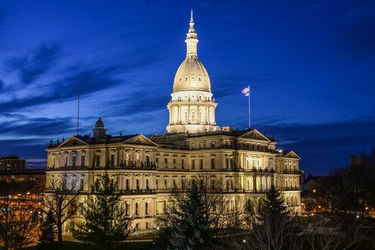 Lansing MI State Capitol Downtown Lansing Michigan Skyline