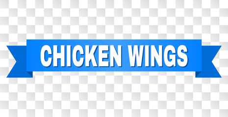 CHICKEN WINGS text on a ribbon. Designed with white title and blue stripe. Vector banner with CHICKEN WINGS tag on a transparent background.