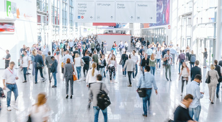 Wall Mural - Crowd of people at a trade show