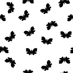 Vector image of Random black and white butterflies pattern.