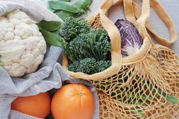vegetables and fruits in reusable bag, Eco living, plastic free and zero waste concept
