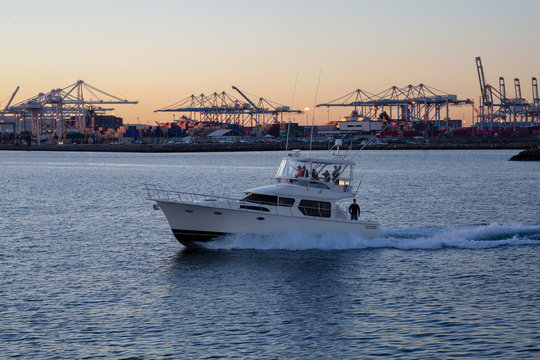 Small pleasure boat at sunset in Long Beach, CA