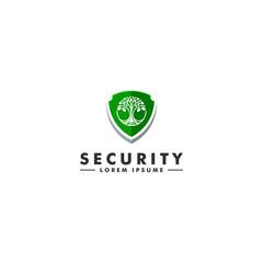 Garden shield security logo. Tree icon design vector