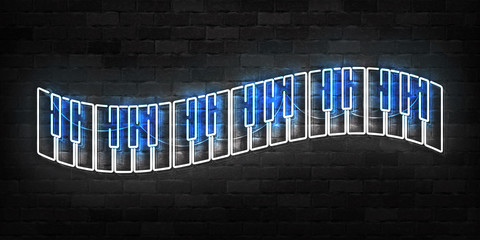 Vector realistic isolated neon sign of Piano logo for template decoration and covering on the wall background. Concept of music. Wall mural