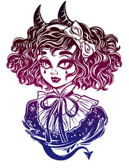 Gothic Victorian demonic girl head portrait with inp horns and curly hair.