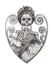 Art Princess Skull Tattoo. Hand drawing on paper.