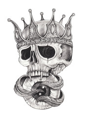 Art Surreal  King Skull Tattoo. Hand drawing on paper.