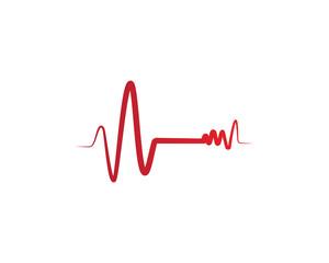 Heart beat hospital line logo vectors