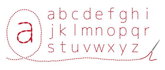 和風刺繍 アルファベット(小文字)返し縫い