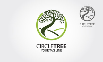 Circle tree vector logo template. Professional and effective logo for business and other.