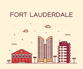 Wall Mural - Fort Lauderdale skyline Florida USA vector linear