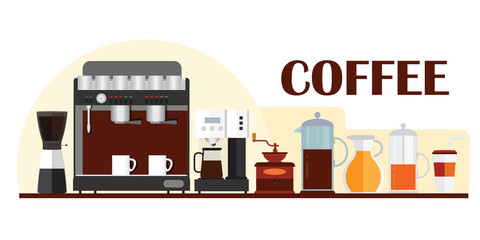 Colorful template for banner design with coffee equipment.