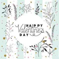happy valentines day card with leafs circular frame