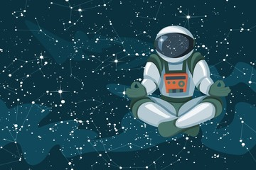 Astronaut sitting in lotus position, meditating, relaxing floating in space