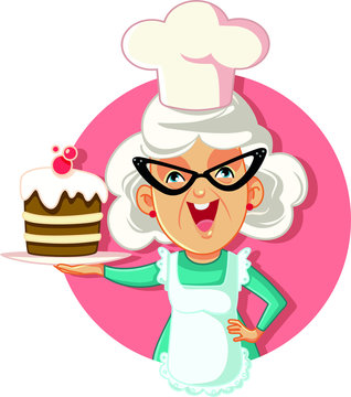 Grandmother Holding Cake Vector Cartoon