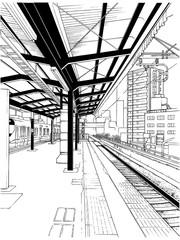 漫画風ペン画イラスト 駅 ホーム
